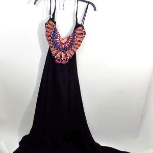Ascension Island Black Embroidered Maxi Dress XL